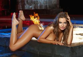 brittney shumaker, nude, water, playmate, ass, long hair, sexy, night, pool, outdoors, fire, beauty, playboy