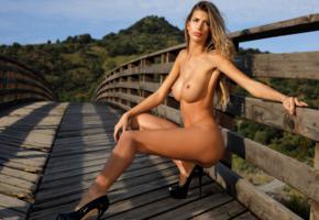 claudia, blonde, model, beauty, sexy, girl, fake, big tits, big breasts, long legs, naked, heels, bridge