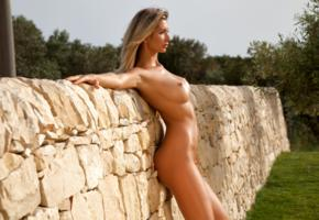 claudia, blonde, model, beauty, sexy, girl, fake, big tits, big breasts, long legs, naked, stone wall, posing, close up