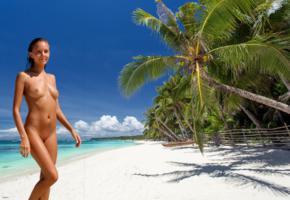 katya clover, clover, mango, caramel, mango a, brunette, beach, naked, tanned, tits, nipples, shaved pussy, wet, hi-q