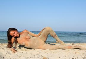 katya clover, clover, mango, caramel, mango a, brunette, beach, tanned, naked, sandy, tits, shaved pussy, spread legs, smile, hi-q
