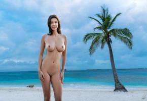 alisa i, alisa, jessica albanka, brunette, beach, naked, big tits, nipples, shaved pussy, tanned, smile, hi-q, sea, alisa amore
