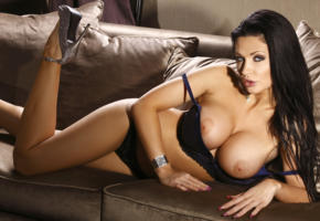 aletta ocean, black hair, model, sexy, hot, tits, big tits, big breasts, legs, panties, bra, heels, posing, chair, pillow, boobs, fake boobs