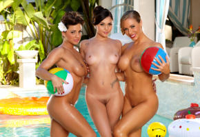 ariana marie, abigail mac, nicole aniston, three girls, model, beauty, sexy, hot, naked, pool, tits, breasts, pussy, wet, tanned, nude, lesbian, haired pussy, smile