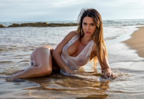 justyna, brunette, model, sexy, tits, big tits, lying, water, beach, wet, sea, tanned