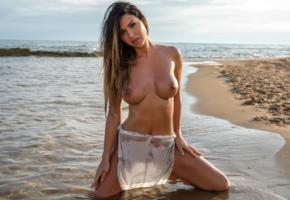 justyna, brunette, model, sexy, tits, big tits, big breasts, water, beach, wet, sea, tanned