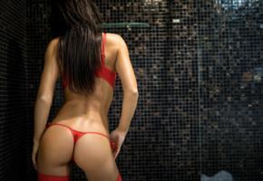karola, black hair, model, mosaic, bra, panties, long hair, ass, sexy ass, thong, shower, red panties, red lingerie