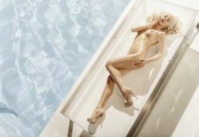 pool, shoes, legs, blonde, sexy, amber bassick, model, water, body, hairstyle, naked, oiled, wet, tits