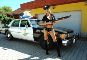 clara g, blonde, police car, non nude, shorts, shotgun, boots, sexy, hi-q, police