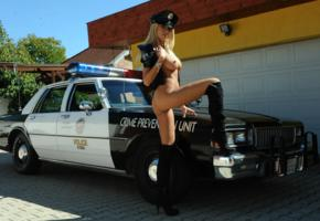 clara g, blonde, police car, naked, big tits, nipples, pussy, ass, boots, hat, hi-q, tanned, police, babes in boots