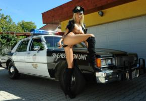 clara g, blonde, police car, boot, naked, masturbating, dildo, insertion, big tits, nipples, shaved pussy, labia, ass, spread legs, hi-q, police