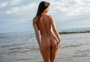 justyna, brunette, model, beauty, sexy, girl, naked, tanned, beach, long hair, tattoo, wet, water, standing