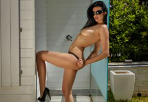 clio, black hair, model, beauty, sexy, girl, tits, boobs, shower, sunglasses, topless, heels, legs, tanned