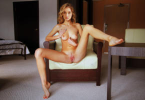 grace victoria cox, actress, blonde, legs spread, pussy, shaved, feet, spreading legs, shaved pussy, labia, posing, chair, tanlines, fake, low quality