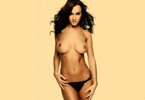 rosie jones, brunette, panties, black panties, topless, boobs, big tits