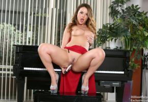 dillion harper, brunette, sexy, masturbation, dildo, tits, boobs, piano, heels, pussy, trimmed pussy