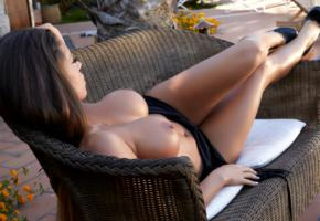 isabelle, brunette, model, beauty, sexy, hot, tits, breasts, big tits, boobs, sexy body, tanned, dress, couch, heels, fake boobs