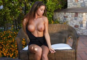 isabelle, brunette, model, beauty, sexy, hot, tits, breasts, big tits, boobs, sexy body, tanned, dress, fake boobs, oiled, black dress