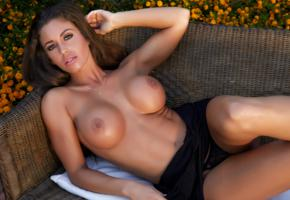 isabelle, brunette, model, beauty, sexy, hot, tits, breasts, big tits, boobs, sexy body, tanned, dress, thong, couch, fake boobs, oiled, black panties