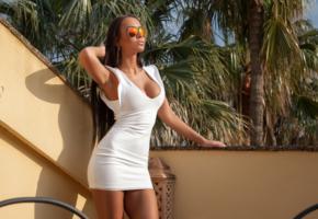 mareeva, brunette, model, sexy, dress, sunglasses, posing, white dress