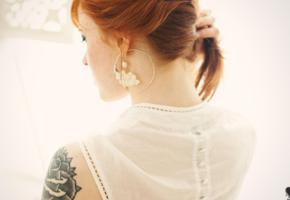 suicide girls, annalee, redhead, neck, tattoo, blouse