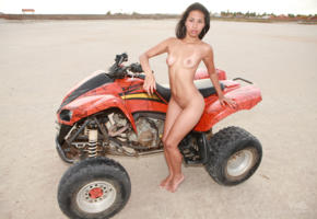ruth medina, brunette, boobs, model, shaved pussy, legs, tits, nude, outdoor, quadbike