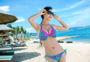 asian, girl, model, beauty, bikini, sunglasses, posing, beach, big tits, sea, ocean