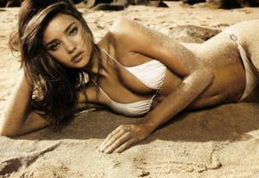 miranda kerr, model, bikini, brunette, beach, white bikini