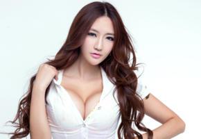 wang ming ming, brunette, model, neckline, busty, asian