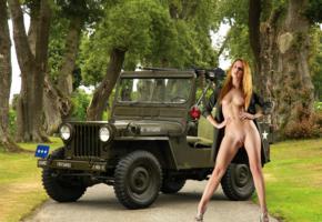 colette, roberta berti, kari k, redhead, naked, coat, jeep, military, machine gun, tits, nipples, shaved pussy, high heels, hi-q, jeep willys