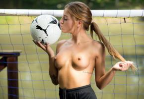 silvia dellai, silvia, dellai twins, brunette, outdoors, soccer ball, goal, topless, tits, hard nipples, tattoos, kiss, hi-q