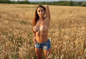 laureen, brunette, model, beauty, sexy, hot, long hair, topless, shorts, busty, breasts, tits, boobs, big tits, denim shorts