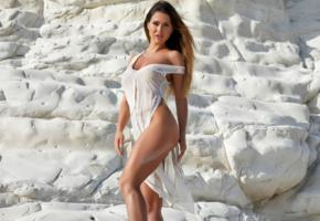 beauty, beach, sexy, hot, dress, justyna, tanned