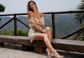 beauty, dress, legs, heels, posing, claudia, tanned, sexy legs