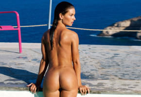 verena stangl, playboy, playmate, brunette, model, nude, ass, tanned, low quality, wet, sea