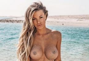 astrid falcsi, playboy, playmate, blonde, model, boobs, big tits, tanned, sea, beach