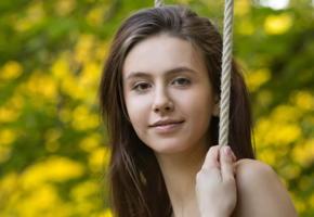 alisa i, swing, brunette, cute face, forest, smile, alisa amore, jessica albanka