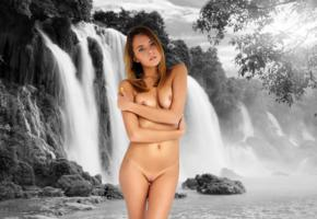 katya clover, clover, mango, caramel, mango a, brunette, waterfall, artistic, naked, tanned, tits, nipples, shaved pussy, hi-q
