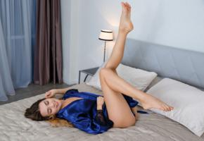 viva, georgia, susza k, sexy girl, adult model, smile, bed, ass, sexy legs