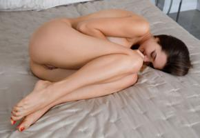 viva, georgia, susza k, sexy girl, adult model, smile, pussy, labia, bed, ass, legs