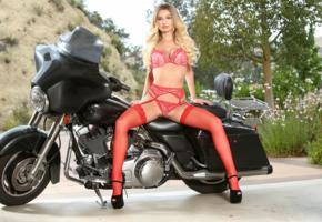 natalia starr, blonde, motorcycle, bra, panties, nylons, stockings, high heels, pussy, spread legs, hi-q
