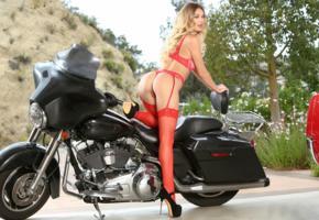 natalia starr, blonde, motorcycle, bra, panties, nylons, stockings, high heels, ass, pussy, hi-q