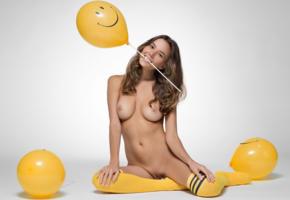 katya clover, clover, mango, caramel, mango a, naked, tits, nipples, shaved pussy, labia, stockings, balloons, smile, hi-q, yellow stockings, boobs, big tits