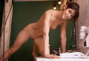 demi a, nude, tanned, brunette, tits, shaved pussy, pussy, smile, bathroom