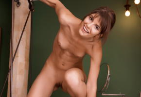 demi a, nude, tanned, brunette, tits, dark nipples, shaved pussy, pussy, smile