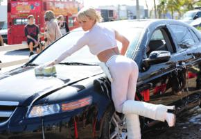 blonde, car, sara jean underwood, carwash, yoga pants, wet, sexy, hot, ass