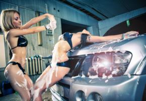 2 babes, car, 2 girls, wet, foam, bikini, sexy, carwash