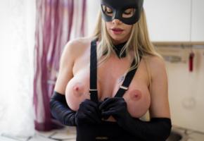 lara de santis, blonde, boobs, mask, kitchen, tanned, big tits, fake boobs, nipples