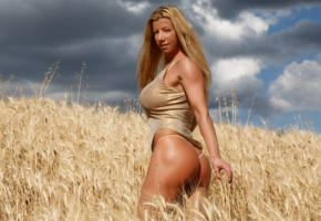 lara de santis, blonde, wheat, thong, smile, ass, tanned, field