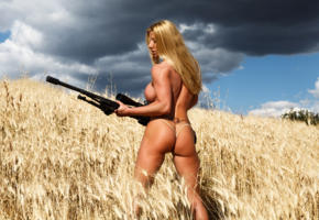 lara de santis, blonde, sniper, rifle, gun, tanned, field, boobs, big tits, fake boobs, ass, big ass